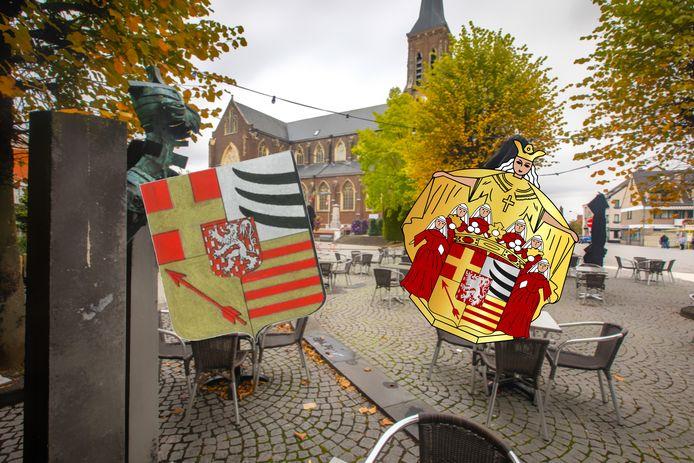 Het erkende wapenschild (links) en het tot nu toe gebruikte wapenschild (rechts) met het centrum van Lanaken op de achtergrond.