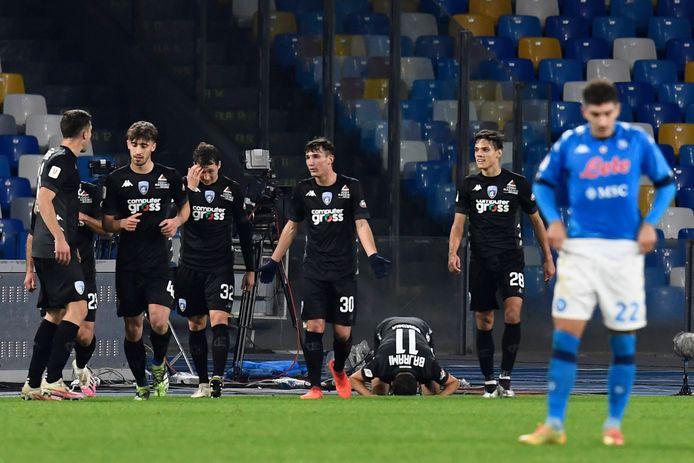 Vreugde bij de spelers van Empoli na de 1-1.