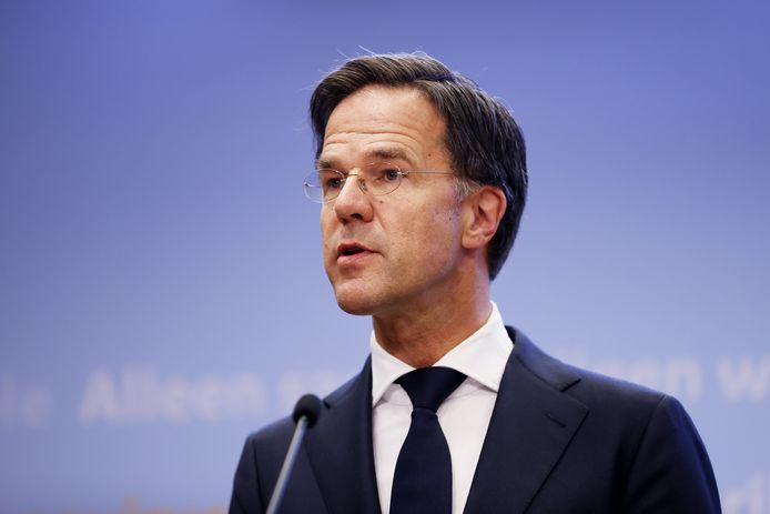 Demissionair premier Mark Rutte tijdens een persconferentie.