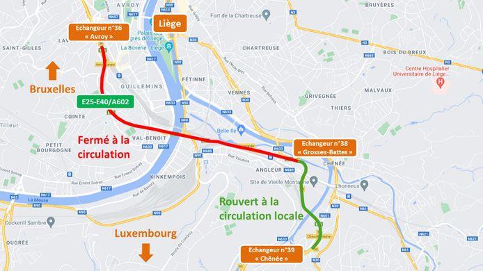 Le tunnel de Cointe est encore fermé, ce lundi, suite aux inondations qui ont touché Liège.