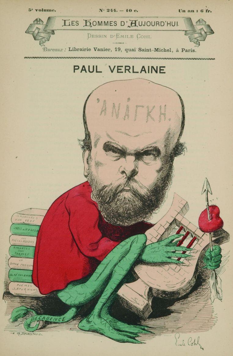 Paul Verlaine als Decadence op de cover van het satirische blad Les hommes d'aujourd'hui, 1880. Beeld kos