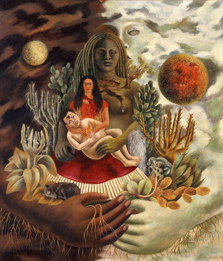 oog totaalbeeld Frida Kahlo, Liefdesomhelzing van het universum, de aarde (Mexico), Diego, ikzelf en de heer Xólotl, 1949, olieverf op masoniet Beeld Gelman Collction/Vergel Foundation