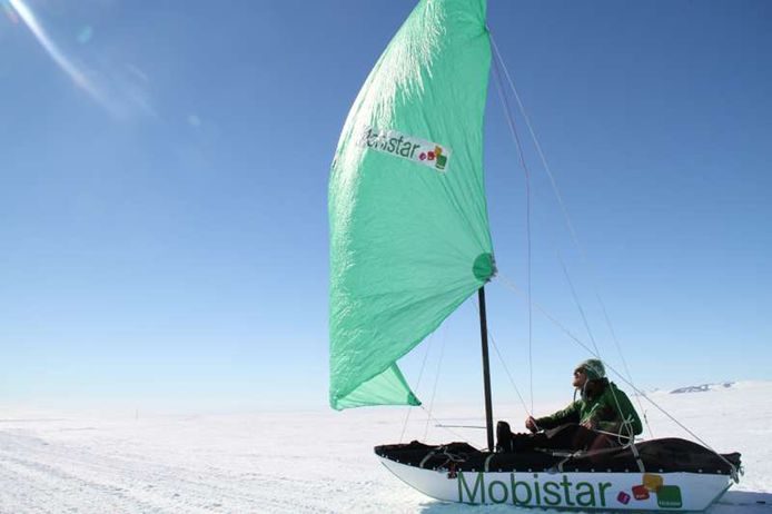 Beeld van de expeditie van Dansercoer en Deltour. Het werd de langste autonome expeditie ooit op Antarctica.