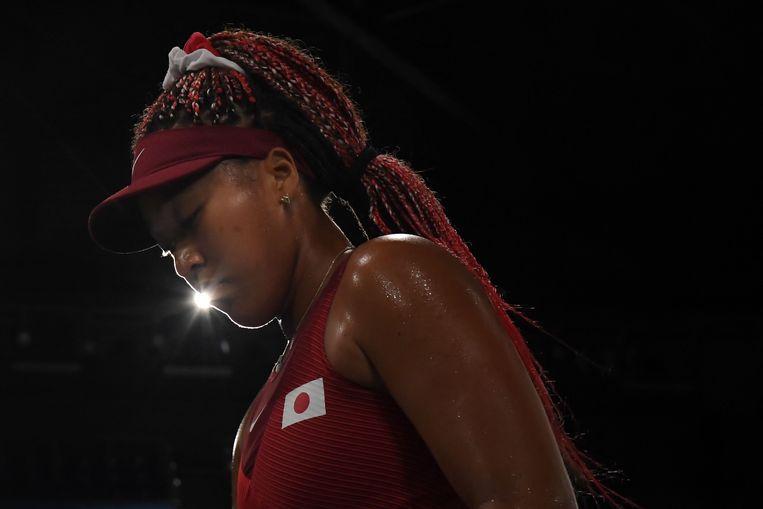 Naomi Osaka in haar partij tegen Marketa Vondrousova.  Beeld AFP
