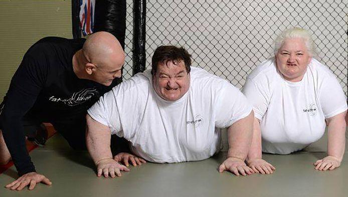 Steve en Michelle met personal trainer Paul.