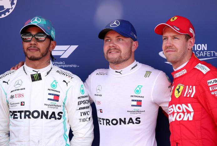 Lewis Hamilton, Valtteri Bottas en Sebastian Vettel.