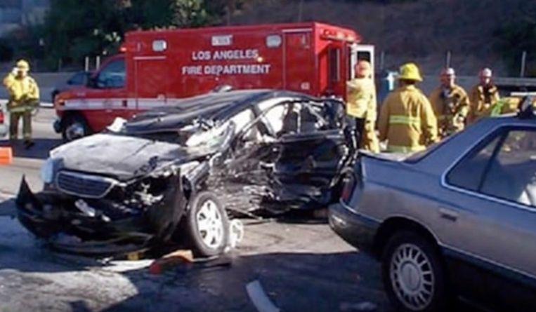 Van de gehuurde Lexus van Kanye West bleef niet veel meer over.