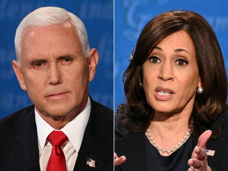 Het debat tussen vicepresident Mike Pence en zijn uitdager Kamala Harris eindige zonder duidelijke winnaar.  Beeld AFP