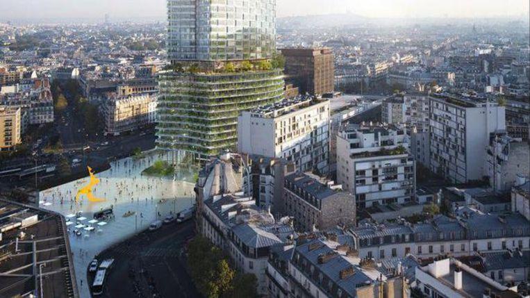 Een artistieke impressie van hoe de toren er in de toekomst zal uitzien. Beeld Nouvelle AOM