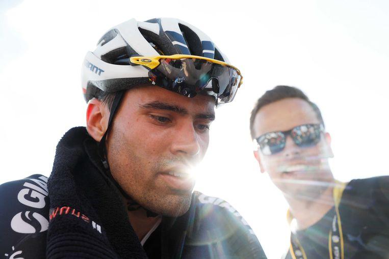 Tom Dumoulin na de finish van de twaalfde etappe van de Tour de France tussen Bourg-St-Maurice en Alpe d'Huez. Beeld ANP