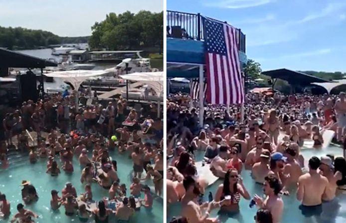 """Dans cette """"pool party"""", les consignes obligatoires de distanciation physique n'étaient à l'évidence pas respectées"""