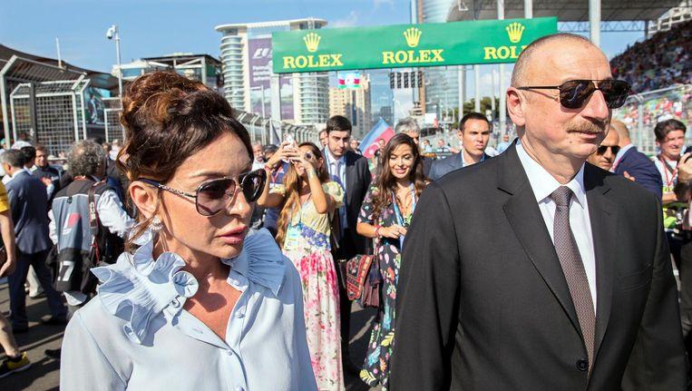 President Ilham Aliyev en zijn vrouw Mehriban Aliyeva . Beeld epa
