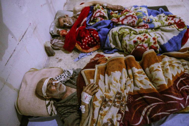 Gewonden in Oost-Ghouta. Beeld EPA