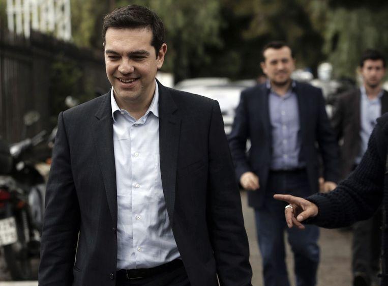 Alexis Tsipras de leider van de Griekse radicaal linkse oppositiepartij Syriza. Beeld anp