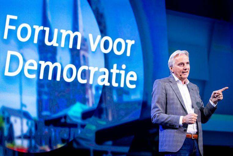 Hans Smolders tijdens de presentatie van de eerste tien kandidaten van Forum voor Democratie (FVD) in oktober 2020. Beeld Hollandse Hoogte /  ANP