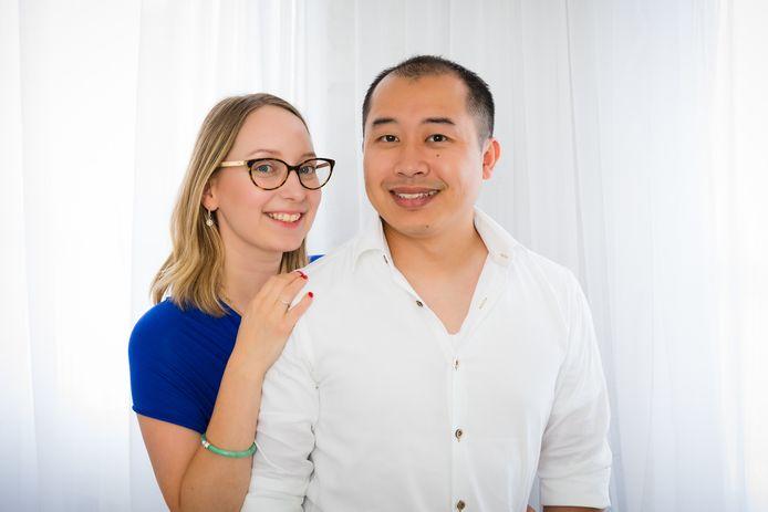 Kim Buining met haar man.