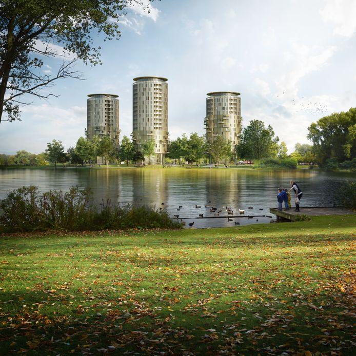 Artist impression. Drie woontorens gepland op de plaats waar het Brabantbad stond.