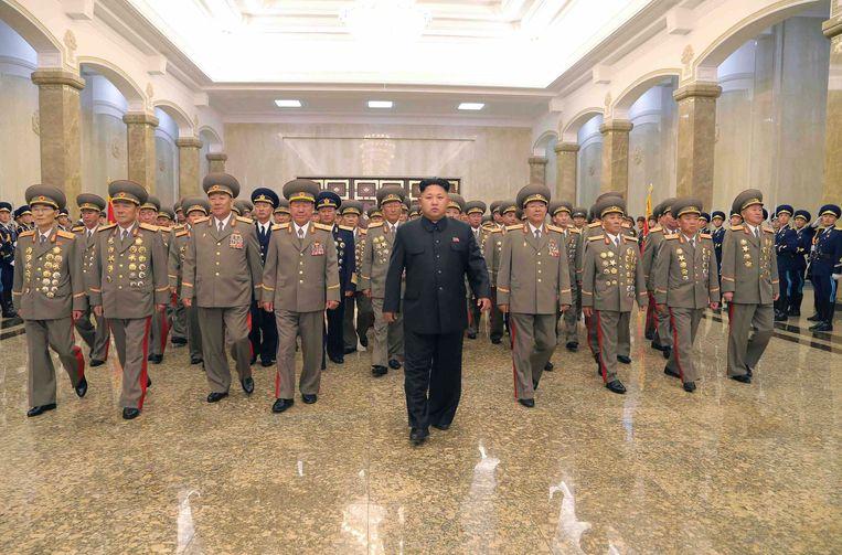 Kim-Jong Un in het Kumsusan Palace. Beeld REUTERS