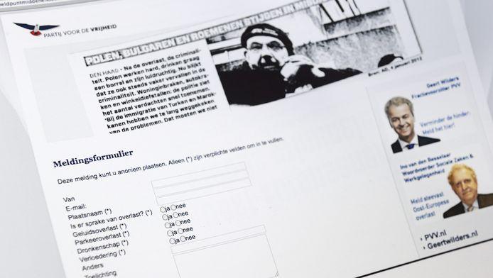 Het meldingsformulier van het meldpunt van de PVV voor mensen die klachten hebben over Midden- en Oost-Europeanen.
