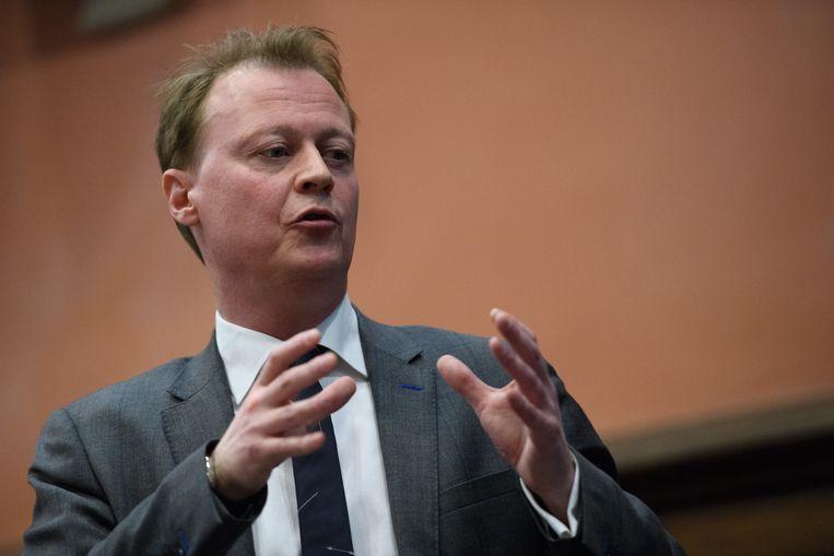 Christophe Peeters tijdens de extra gemeenteraadszitting in Gent. Beeld Photo News
