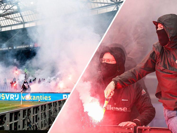 Feyenoordsupporters komen met vuurwerk het stadion binnen