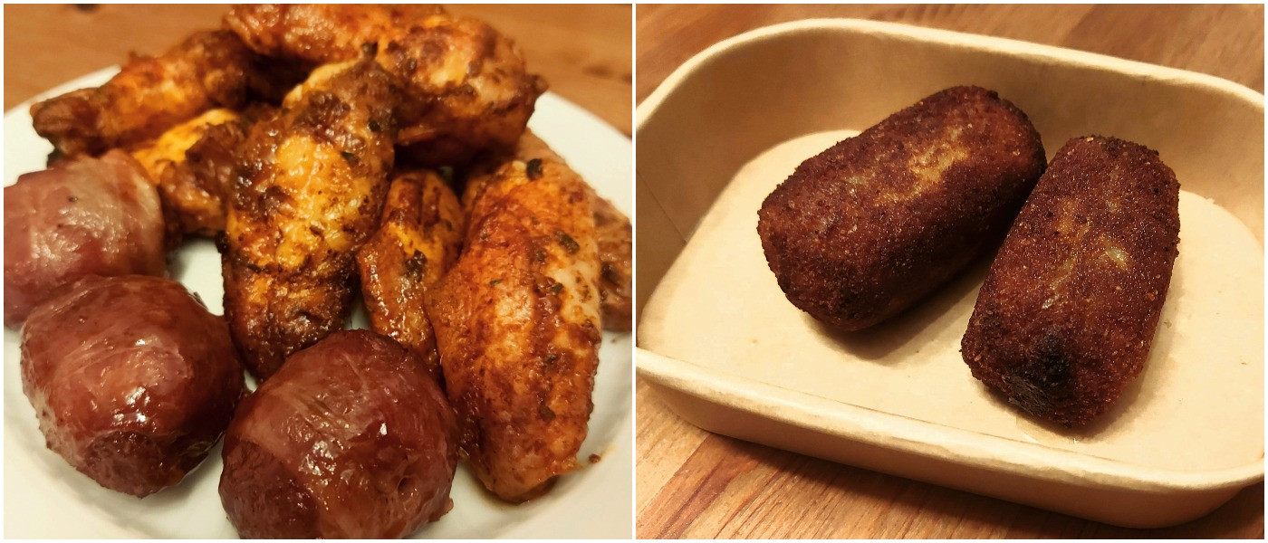 MOINK balls en chicken wings (links); en pulled pork kroketten (rechts)