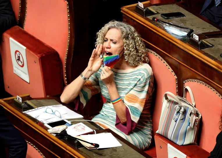 Monica Cirinnà laat zich horen in de Italiaanse senaat. Ze was deze zomer zelf onderwerp van gesprek.  Beeld Mondadori Portfolio / Getty