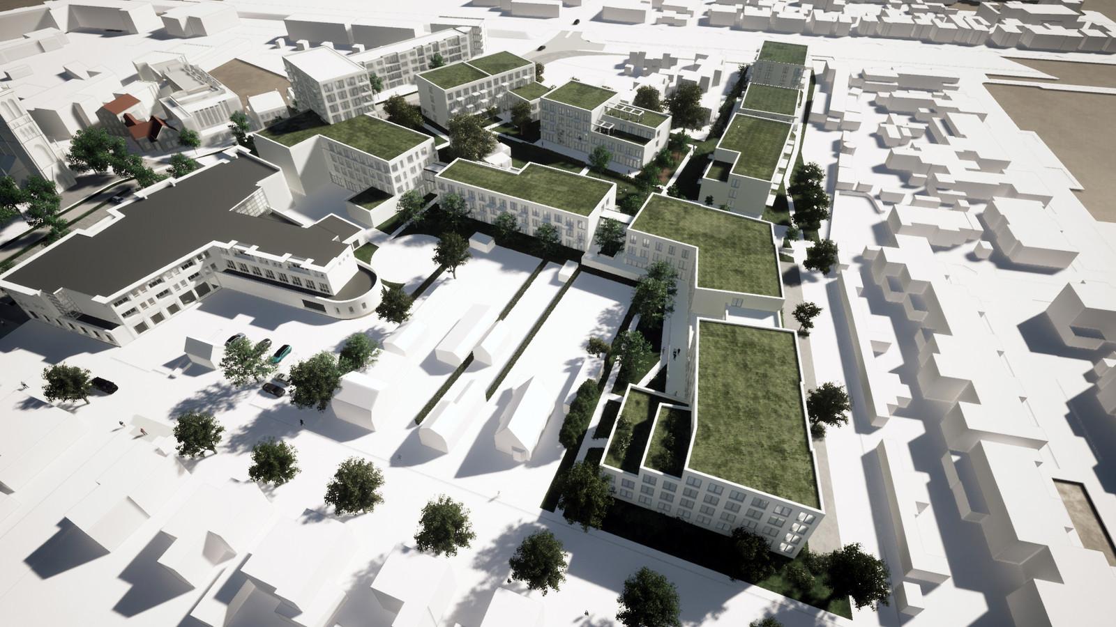 Een impressie van de nieuwe buurt op de plek van woonzorgcentrum Alphonsus in de Helmondse wijk Mierlo-Hout. Op de voorgrond de Pastoor Elsenstraat. In het midden de kloostertuin die de Hoofdstraat (links) verbindt met de Kardinaal van Enckevoirtstraat (rechts).