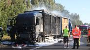 Poolse vrachtwagen met stro uitgebrand langs E17 in Waregem