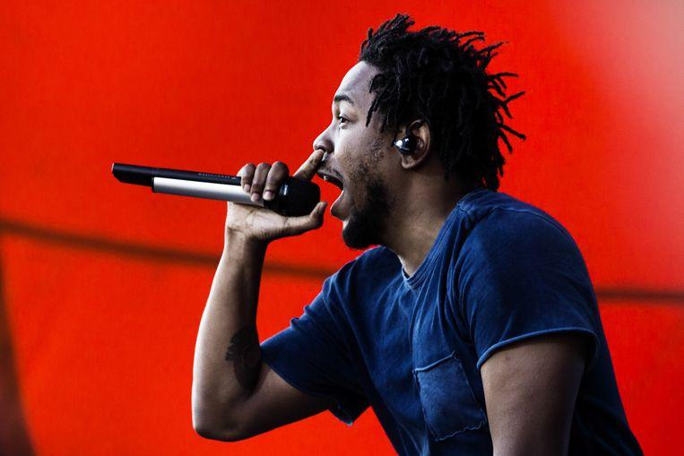 Kendrick Lamar op het Deense festival Roskilde, in 2015, tijdens de 'To Pimp A Butterfly'-tournee.  Beeld AP
