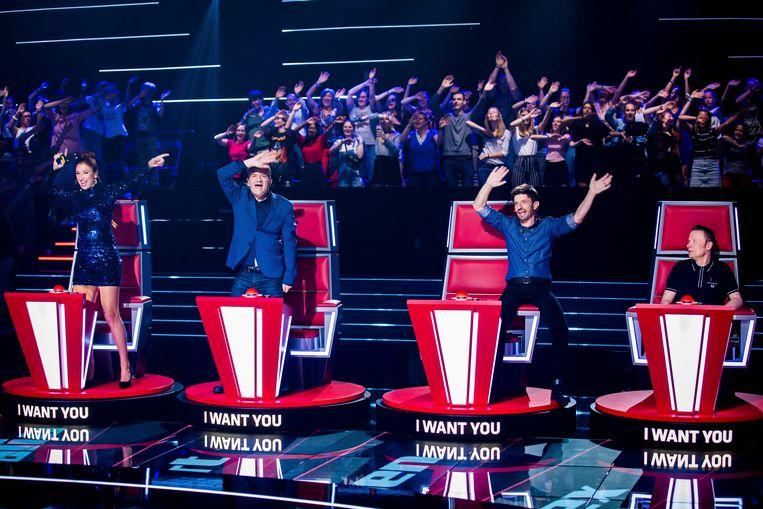 Juryleden Natalia, Bart Peeters, Koen Wauters en Alex Callier in 'The Voice van Vlaanderen'. Beeld The Voice van Vlaanderen