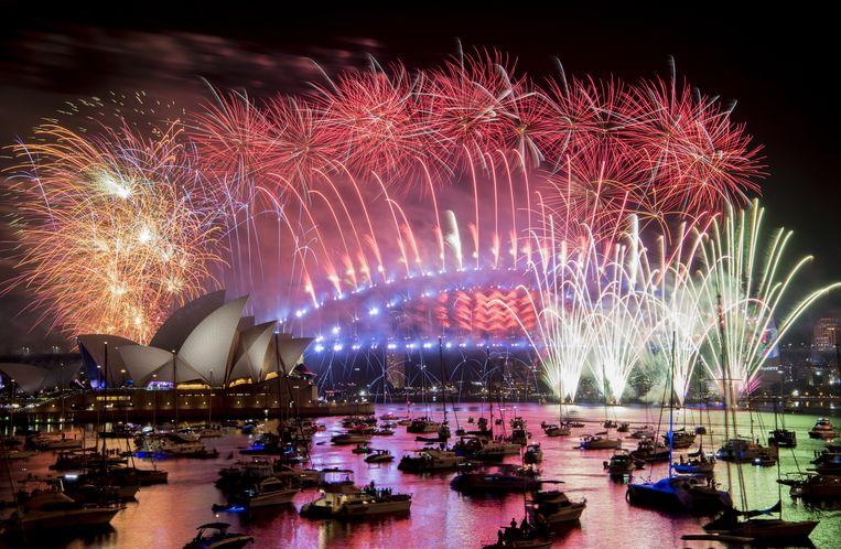Vuurwerkshow op 31 december 2018 in Sydney. Beeld EPA