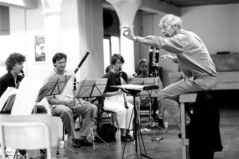 Reinbert de Leeuw repeteert mer het Nederlands Blazers Ensemble. Beeld Hollandse Hoogte / Frans Schellekens