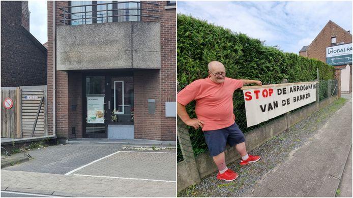Luc Wauters (66) protesteert tegen de sluiting van het BNP Paribas Fortis-bankkantoor in Buizingen (rechts).