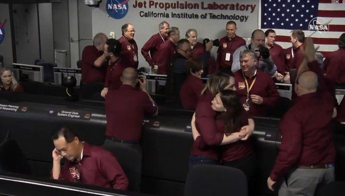 Blijdschap in het NASA-laboratory.