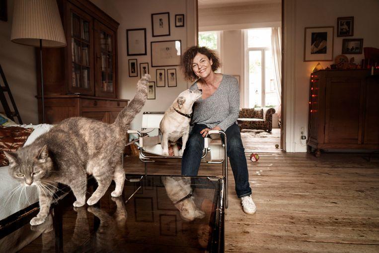 Hilde Van Mieghem: 'Over negen maanden is mijn huis afbetaald en plan ik een schrijverssabbatical. Ergens in Italië achter mijn laptop zitten, met enkel mijn hond en katten in de buurt. Sounds like heaven.' Beeld Eric de Mildt