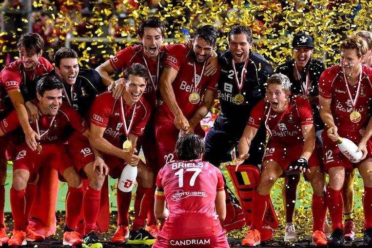 De Red Lions vieren hun Europese titel in Antwerpen. Beeld BELGA