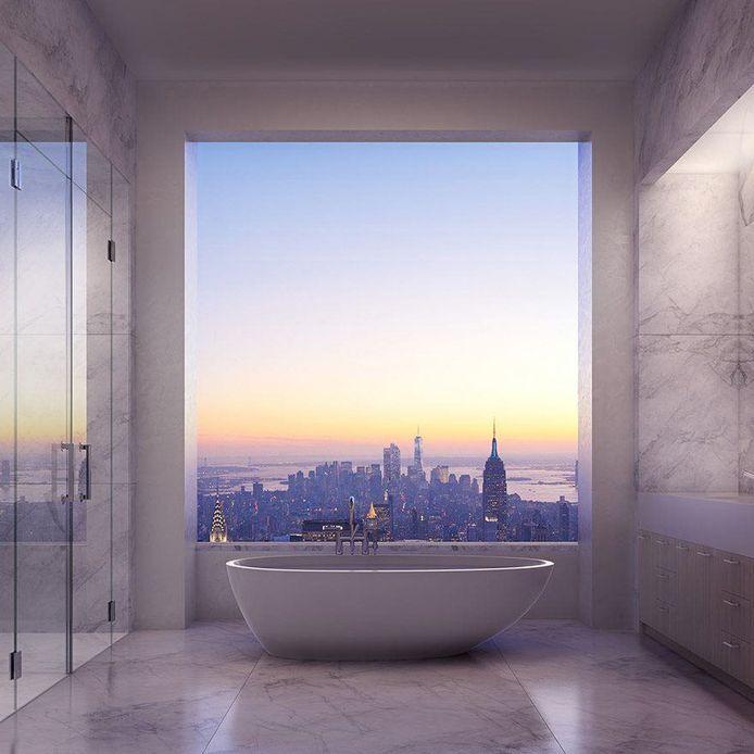 Badkamer met uitzicht.