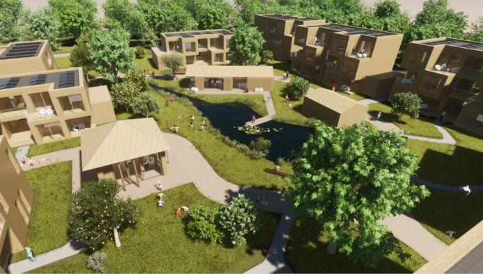 Impressie van de plek van de eerste 52 tijdelijke woningen in de 'slimme wijk' in Helmond-Brandevoort.