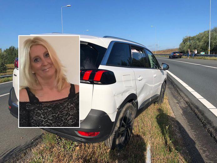 Sylvia Schuman kwam met haar auto tegen de vangrail van de A50 terecht.