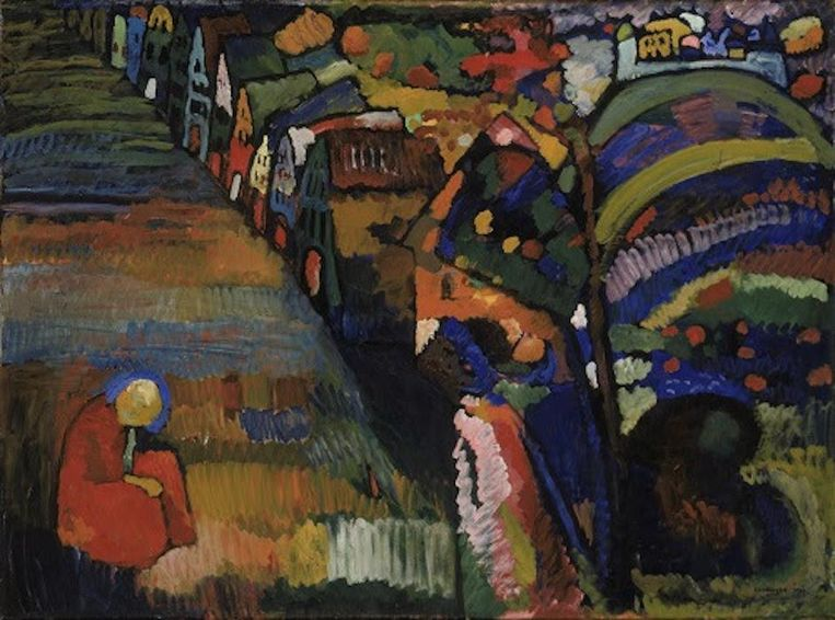Bild mit Häusern van Wassily Kandinsky Beeld Stedelijk Museum