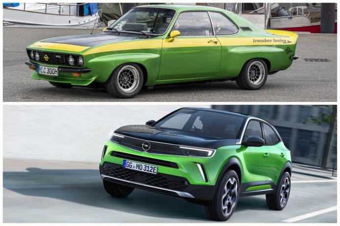 Bovenaan de Opel Manta uit de jaren '70 - Onderaan de nieuwe, elektrische Opel Mokka-e