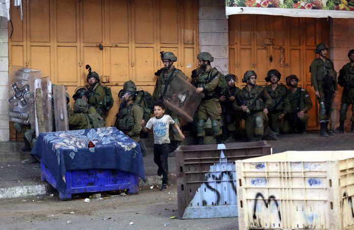 Israëlische troepen in Hebron.