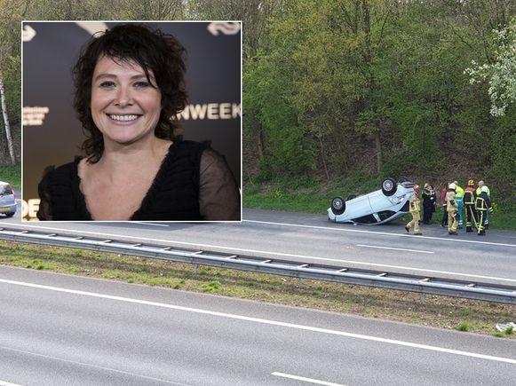 Schrijfster Griet Op de Beeck (inzet) zat in de auto die over de kop sloeg op de A1.