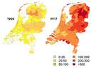 Geografische verdeling per gemeente van het aantal diagnoses erythema migrans in Nederland, per 100.000 inwoners