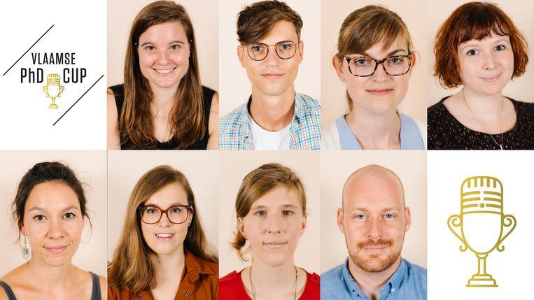 Dit waren de acht finalisten van de Vlaamse PhD Cup 2019 Beeld RV