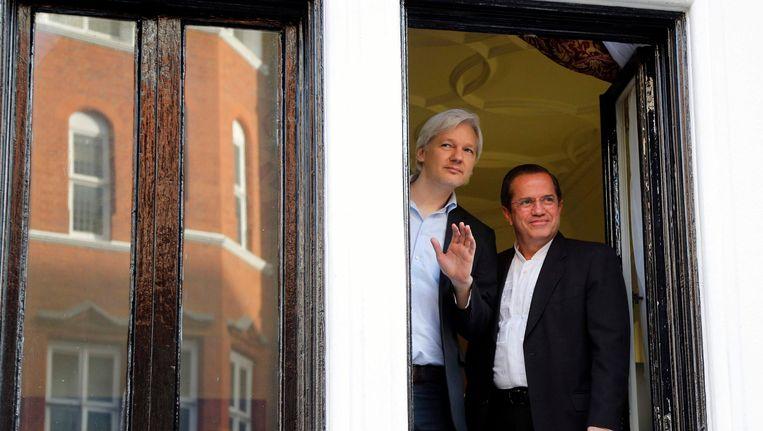 Julian Assange, momenteel ondergedoken in de Ecuadoriaanse ambassade in Londen. Beeld REUTERS
