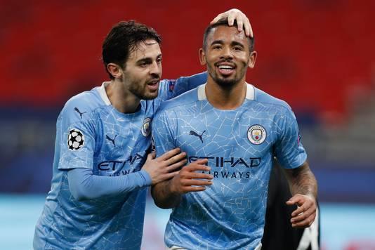 Bernardo Silva en Gabriel Jesus, de doelpuntenmakers voor Manchester City in Boedapest.