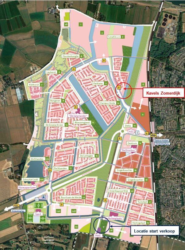 De locatie van project Kavels Zomerdijk in Schuytgraaf.