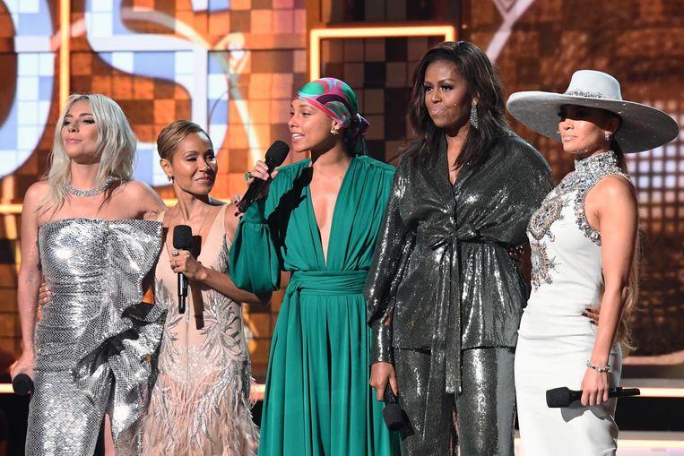 Voormalige 'First Lady' Michelle Obama gaf een toespraak. Beeld anp